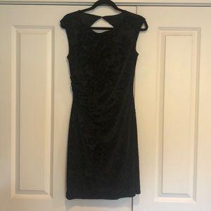 Black jacquard cocktail dress